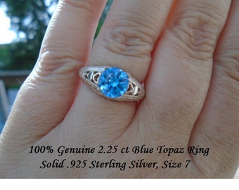 Genuine 2.25 ct Round Blue Topaz Ring