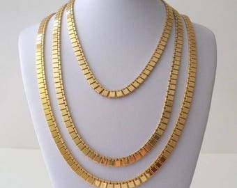 Vintage MONET Gold Plated Flat Chain Necklace Set of 2