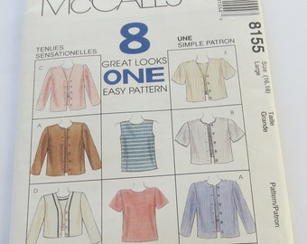 Misses Top and Jacket in Two Lengths, McCall's Sewing Pattern#8155, Misses Size Large 16, 18, 8 Great Looks on one Easy Pattern