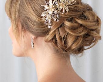 Gold Bridal Hair Clip, Gold Wedding Hair Clip, Floral Hair Clip, Bridal Hair Comb, Gold Headpiece, Gold Hair Clip,Bride Hair Clip ~TC-2288