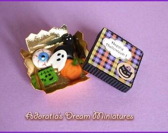 Dollhouse miniature Halloween food 1:12. Cookies box miniature fully artisan. Miniature Halloween sweet  food.