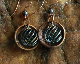 Small Copper Mixed Metal Earrings, Spirals Boho Hippie Artisan Art Boho Style Tribal Rustic Lightweight Earrings Jewelry, Gifts For Her