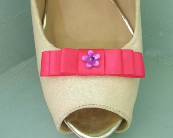 Handmade Small Cerise Pink Bow Shoe Clips with Little Flower Centre
