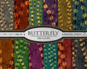 Butterfly Digital Paper: Butterfly Scrapbook Paper, Printable Butterfly Paper, Butterfly Background, Grass Digital Paper, Nature Scrapbook