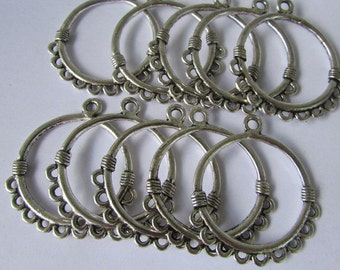 10pcs of Silver Earrings Connector