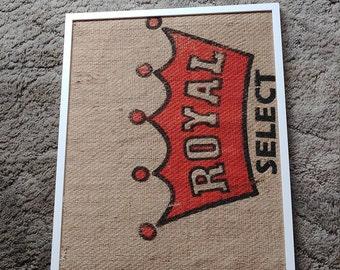 Royal burlap bulletin board