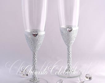 Crystal Wedding Flutes, Champagne Glasses, Wedding Toasting Flutes, Champagne Flutes, Bridal Shower Gift, Anniversary Gift