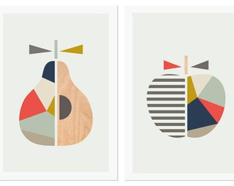 Apple Pear prints,Navy & Coral,Series of two.Scandinavian,Geometric Art,Pear print,Apple print,Modern nursery art, Apple art, Apple nursery.