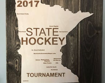 2017 Minnesota Boys State Hockey Tournament Wood Sign