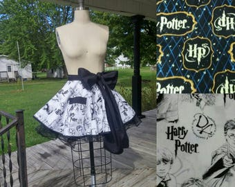 Harry Potter Apron XS-6XL  Lined Skirt and Pockets Ties in Front Choose Black or White Accent Color Half Retro Apron (Petticoat Option)