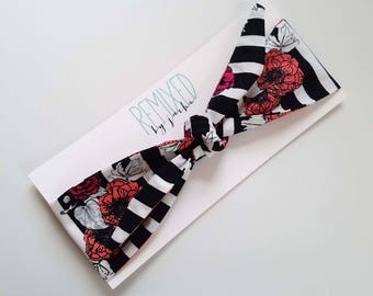 Vintage Inspired Head Scarf Floral on Stripes- Headband Black and White Stripe