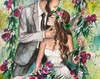 Custom Wedding Illustration, Bride Groom Portrait, Wedding Gift, Custom Wedding Custom illustration of 2 persons