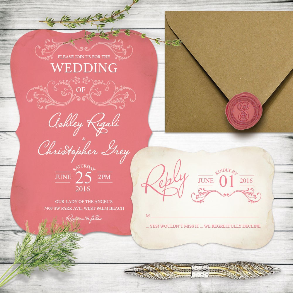 Strawberry Ice Wedding Invitation Set One of Pantone\'s
