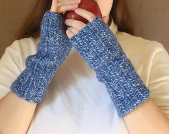 Denim Mist Blue Fingerless Gloves - Men or Women - Crochet Fingerless Mittens, Arm Warmers, Wrist Warmers, Mitts - MADE TO ORDER