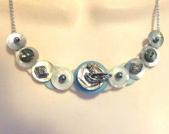 Bluebird of Happiness button necklace