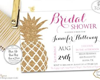 INSTANT DOWNLOAD - Gold Glitter Pineapple Tropical Bridal Shower Invitation - Luau Bridal Shower - Hawaiian Bridal Shower - Glitter - 0219