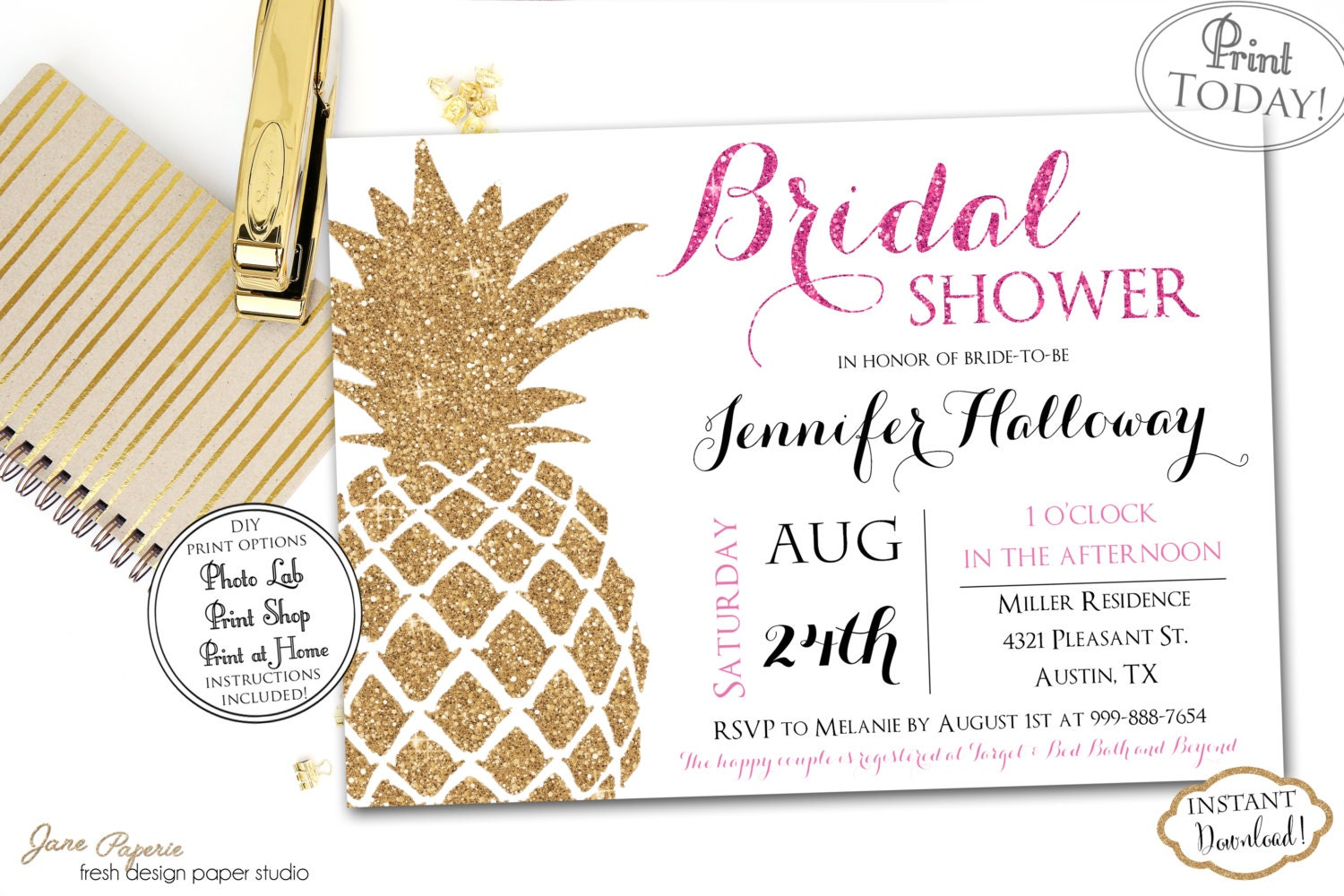 INSTANT DOWNLOAD Gold Glitter Pineapple Tropical Bridal