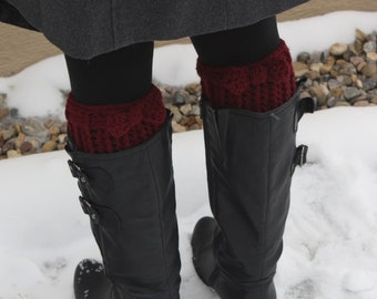 Bow Boot Cuffs pdf PATTERN (digital download), size small to large, ribbed boot toppers to crochet,