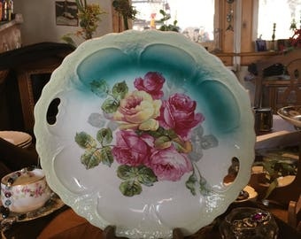 Antique Cake Plate Roses Aqua  Early Unmarked