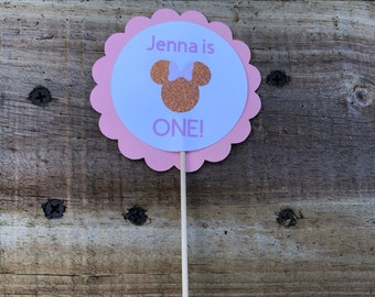 Personalized Minnie Mouse Cupcake Toppers