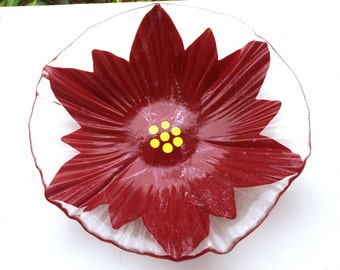 Fused Glass Clear and Red Poinsettia Flower Ribbed Bowl-Dish