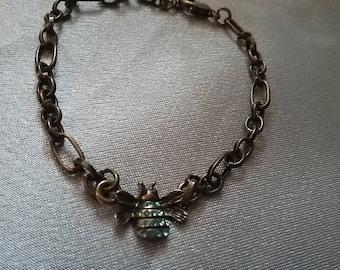 Bronze blue butterfly bracelet