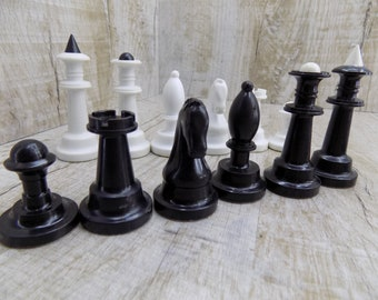 Vintage chess figures, soviet chess figures, plastic chess, black white chess, chess set, chess game, outdoor game gift, Chess parts Ussr