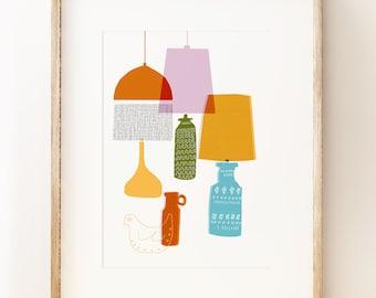 Retro lamps wall art print 'Shades'. Mid century decor.