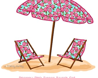 Preppy Pink Rose Beach Set - With and Without Water -  Original Art - pink rose beach umbrella, beach umbrella art, beach chair art