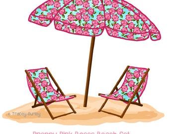 preppy sea life beach umbrella original art preppy beach
