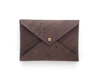 Brown Minimalist Wallet, Business Card Holder in Chocolate Brown Cork