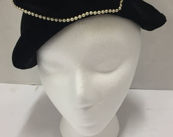Adorable vintage black with faux pearl accents, pillbox hat