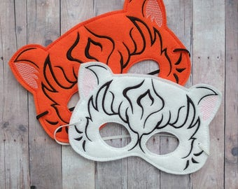 Felt Tiger Mask in 2 Sizes, Elastic Back, White or Orange Acrylic Felt, Cosplay, Costume, Dress Up Tiger Mask, Photo Booth Prop, Made in USA