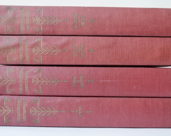 Four Volumes of a 24 Volume Set of 1944 Encyclopedia Brittanica in an aged red color REDUCED