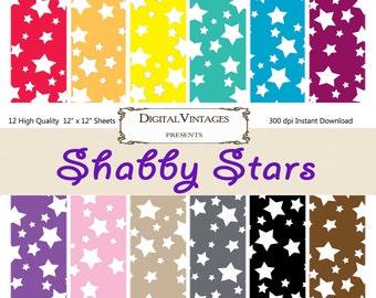 Shabby Stars Digital Paper, Rainbow Stars, Star Scrapbook Paper, Star Papers, Instant Download, Star digital papers, Star Background Papers