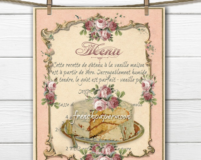 Printable Shabby French Cake, Vanilla Cake, French Recipe, Large Size, Fabric transfer, Instant Download Graphic