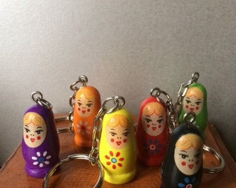 Wooden Russian Doll Keyring Key chain - Matryoshka Wooden Keyring Babushka Keyring