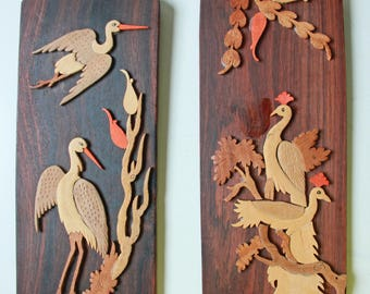Pair of vintage carved wood wall plaque - cranes and lilies - bohemian wall decor