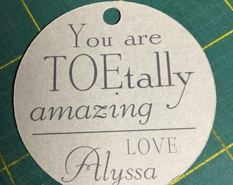 You are TOEtally Amazing Favor Tag with Ribbon