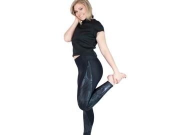 Iridescent Yoga Pants Black Leggings with Metallic Panel Full Length Zumba Leggings Holographic Spandex Foil Active Wear