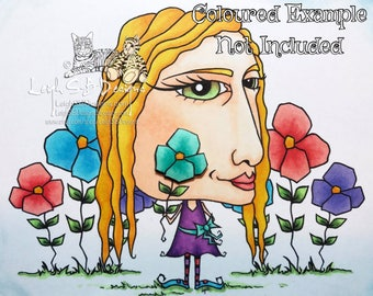Whimsical Miss Oddleigh Flower stylized quirky caricature digi stamp set of 2 images for instant download