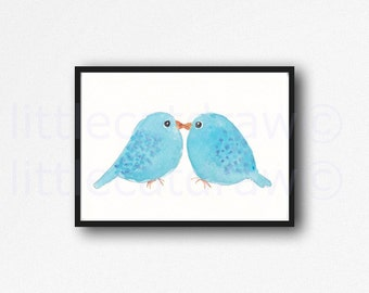 Bird Print Kissing Blue Birds Watercolor Painting Print Bird Wall Decor Wall Art Living Room Decor Home Decor Bird Lover Gift Unframed