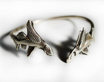 Flying Fish Cuff Bracelet in Sterling Silver