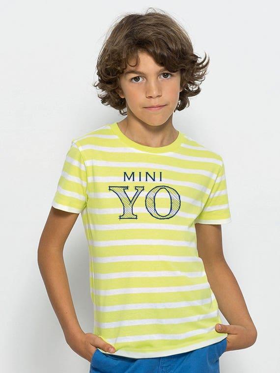 Boyt-shirt stripes white-lime or white-blue MINI YO
