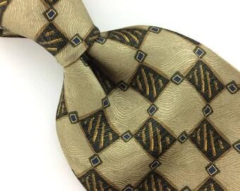 Zianetti Tie Checkered Brown Beige Blue Silk Necktie Mens Ties I10-138 Corbata Krawatte Cravatta Cravate