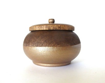 Walnut and rose gold wood jewelry box, dark wood box, trinket box, round wood box, chocolate wood