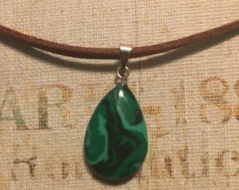 Green and Black Swirl Teardrop Necklace