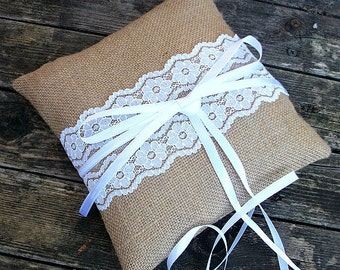 Wedding Ring Bearer Pillow/cushion in Natural Burlap  with a strip of white vintage lace