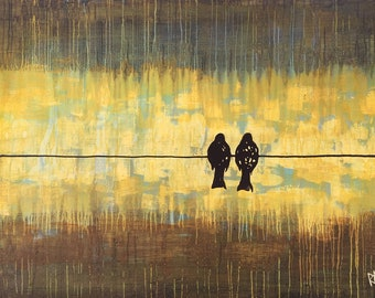2 Birds On The Wire - Custom Birds On A Wire Made To Order Original Painting by Artist Rafi Perez Mixed Medium on Canvas 18X24