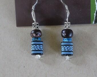 Blue patterned silver earrings